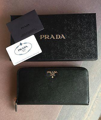 04d8236f88 Portafoglio donna PRADA 1ML506 pelle saffiano nero logo lettering | eBay