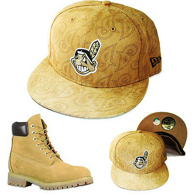 0d809d5c65b New Era MLB Cleveland Indians 5950 Fitted Hat Matching Timberland Boots Cap