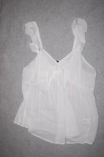 476d6463fe Jr Womens DRESSY WHITE BABYDOLL TANK TOP Ruffled Shoulders KNOT ACCENT Size  L