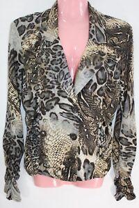 Joseph-Ribkoff-Jacket-Size-10-Animal-Print-Coat-Long-Sleeve-V-Neck-Button-Career