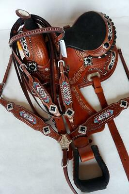 """Western Pony Show Barrel Saddle 10/"""" or 12/"""" BLACK PINK Navajo Beaded Showman HSBP"""