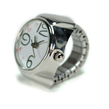 WATCH RING Finger Stretch Band Chrome Time Jewelry NEW Large Number While Gift