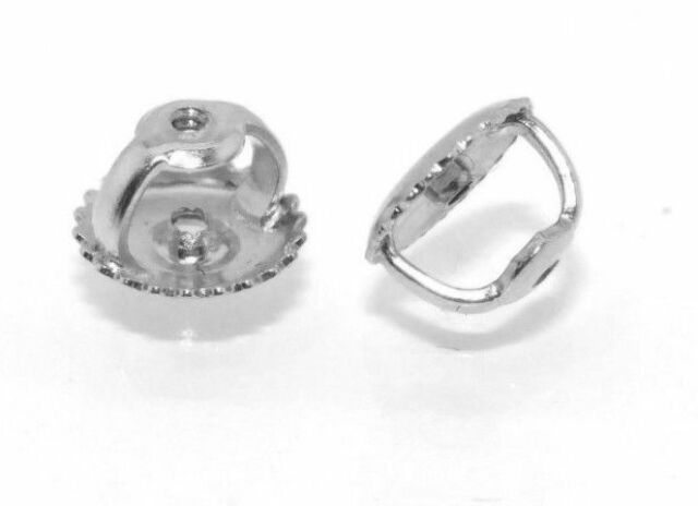 4bb9b5631 1 PAIR SOLID 14K WHITE GOLD REPLACEMENT SCREW ON SCREW OFF EARNUT EARRING  BACK
