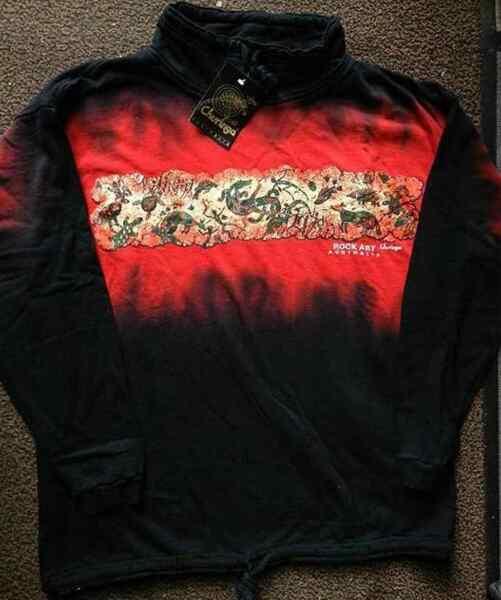 Gr M-XL dickes Sweatshirt schwarz rot Aborigines Malerei Australien  reduz 89,–