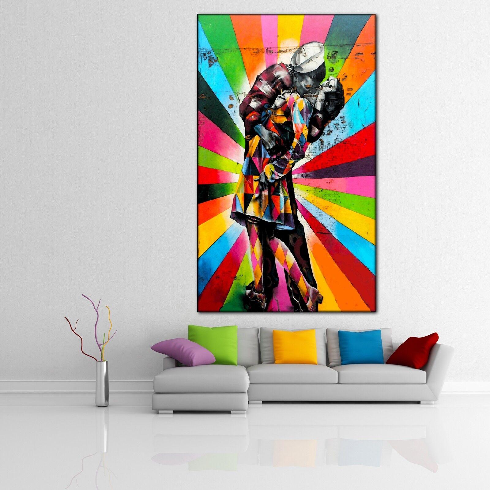 LEINWAND BILD ER XXL POP Kunst GRAFFITI ABSTRAKT KUSS LIEBE MAUER POSTER 90x150