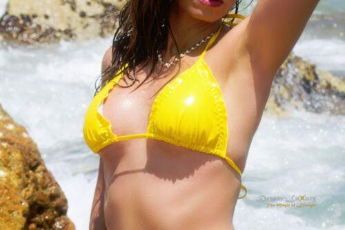 Dream-Luxury PUSH-UP Triangel Bikini ★ STRETCHLACK 4 FARBEN ★ Mini Vinyl Tanga