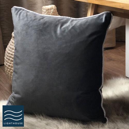 Pair of Luxury Velvet Piped Cushion Covers Orange Ochre Yellow Navy Blue Grey