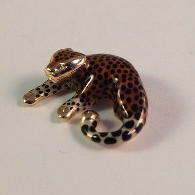 SLC 14k Gold Small Leopard Enamel Slider Pendant.
