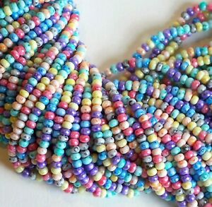 2//0 mixed rainbow matte finished beads transparent