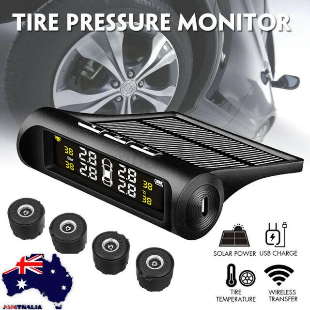 AU Car TPMS Solar Wireless Tyre Tire Pressure Monitor LCD Tester+4 Sensors  R