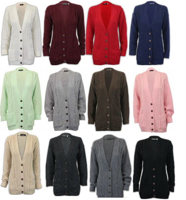 Womens Ladies Chunky Cable Knit Cardigan Button Long Sleeves Winter Plus  Sizes 83cc6d4d2