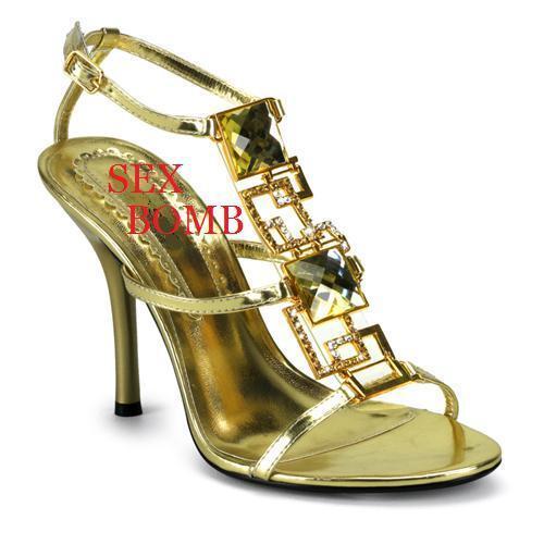 SEXY  SANDALO gold BRILLANTINI E STRASS TACCO 10 N. 38