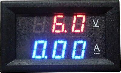 (DC 0V-100V) (30A) Dual LED Digital Voltmeter Ammeter (5 Wires) RED/BLUE w/SHUNT