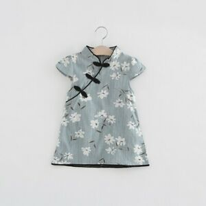 Chinese-Style-Kid-Baby-Girl-Floral-Peacock-Cheongsam-Qipao-Dress-Clothes-0-5T