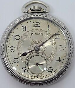 Antique Working 1923 ILLINOIS Victorian 21J Art Deco Gents Pocket Watch 16s