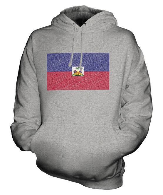 HAITI KRITZELTE FLAGGE UNISEX KAPUZENPULLOVER HOODIE PULLI HOODY HERREN DAMEN