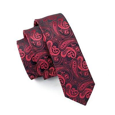 Skinny Mens Ties Red Paisley Slim Necktie Wedding Party Business Narrow Tie