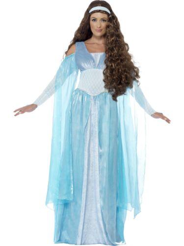 Smiffy/'s Ladies Historic Fancy Dress Costume SALE Blue Medieval Maiden Queen