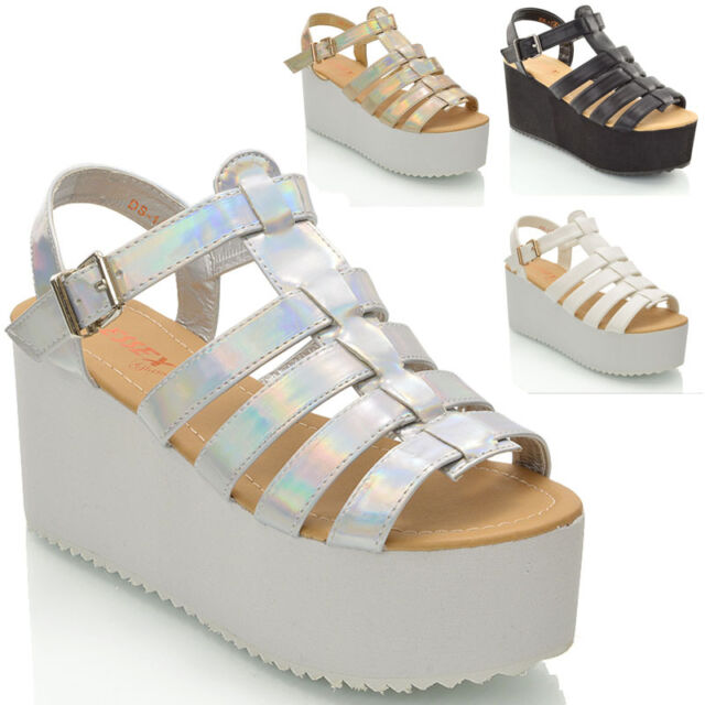 WOMENS CHUNKY SOLE PLATFORM WEDGES LADIES GLADIATOR STRAPPY SANDAL SHOES SIZE