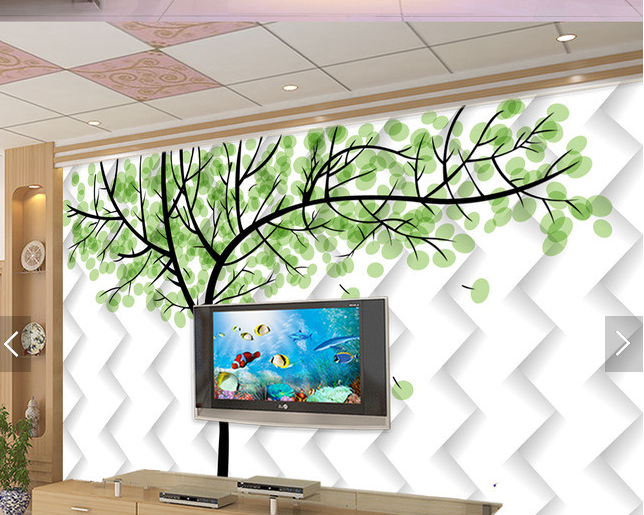 3D Grün Leaves Tree Wave Paper Wall Print Wall Decal Wall Deco Indoor Murals