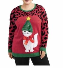4afee3aaef4 3D KITTY CAT FUNNY HAT KNIT UGLY CHRISTMAS SWEATER Womens Plus Size 0X 14W  NWT