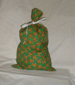 Christmas Ornament Design Homemade Fabric Gift Bag with Attached Ribbon