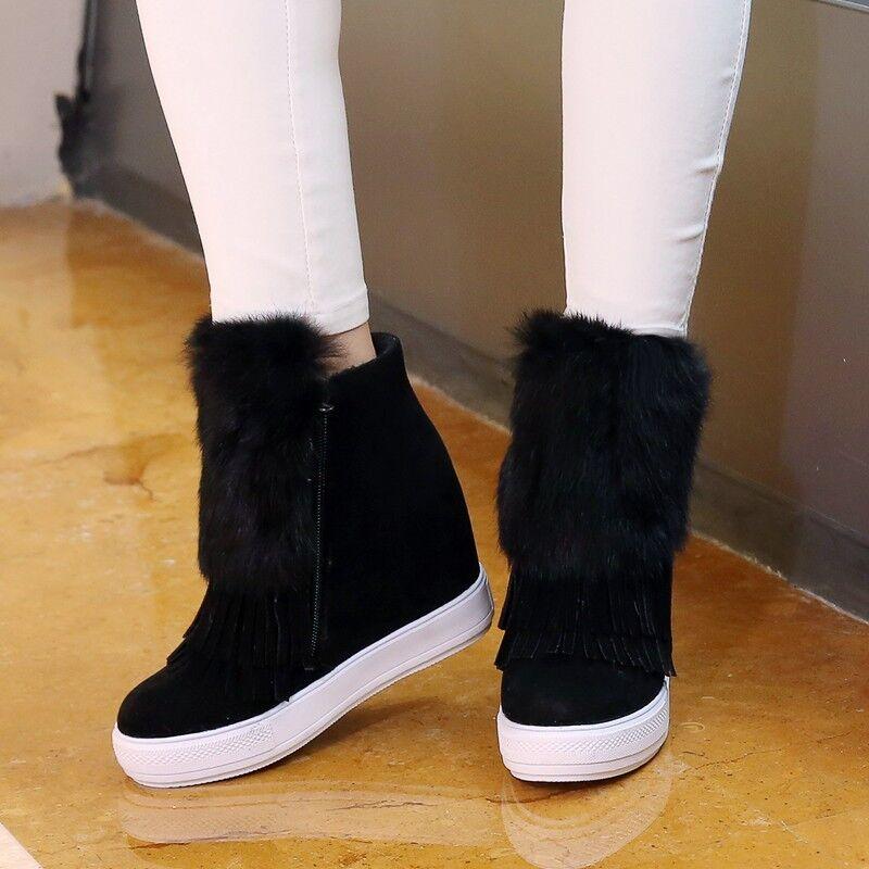 Bottines chaussures de sport femme compensé 7.5 cm noir comme cuir confortable
