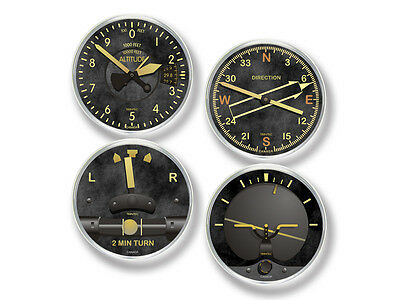 Trintec Vintage Aviation Instrument Drink Coasters - Set of 4