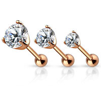 3 Pc 16g 5mm 4mm 3mm Rose Gold with Clear CZ Triple Helix Tragus Ear Cartilage