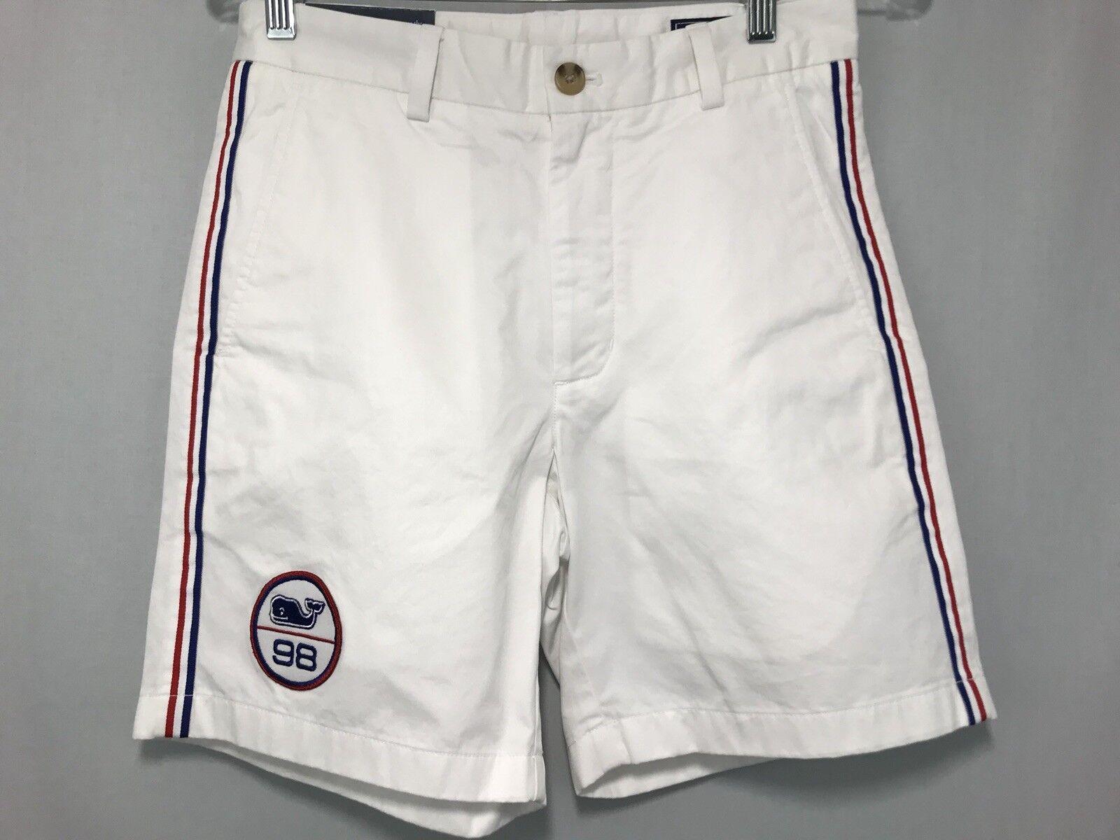Men's Vineyard Vines Size 28 Classic Fit Breaker Shorts Whale Patch Flag Stripe