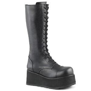 DEMONIA TRASHVILLE 502 Boots Unisex Vegan Leather Gothic Black Lace-Up Platform