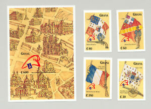Ghana-1132-1136-French-Revolution-Flags-Maps-4v-amp-1v-S-S-Imperf-Chromalin-Proof