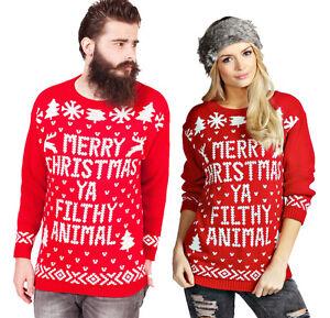 Unisex-Merry-Christmas-Ya-Filthy-Animal-Xmas-Novelty-Jumpers-Home-Alone-Slogan