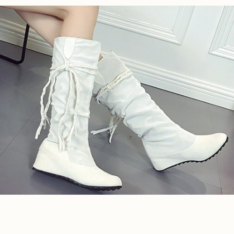 Plus Size Women Mid Calf Boots Slouch Fringes Wedge Heels Concealed Casual shoes