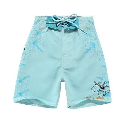 Boy Board Shorts Swimwear Adjustable Waist Side Pocket Swim Trunk Sky Blue Light