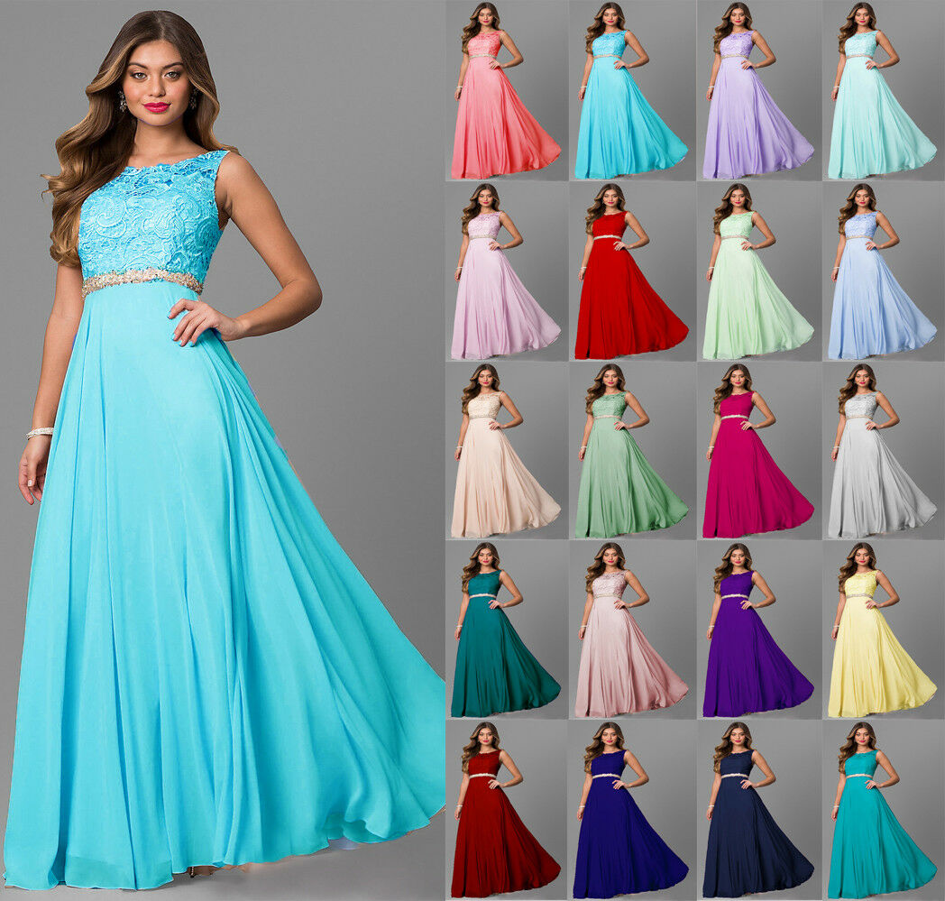 New Long Lace Formal Wedding Evening Party Ball Gown Bridesmaid Dress Size 6-24