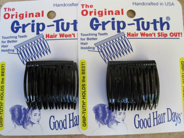 "2 Sets of 2 Black Grip Tuth Hair Combs (4 combs)1 1/2"" Good Hair Days USA #40074"