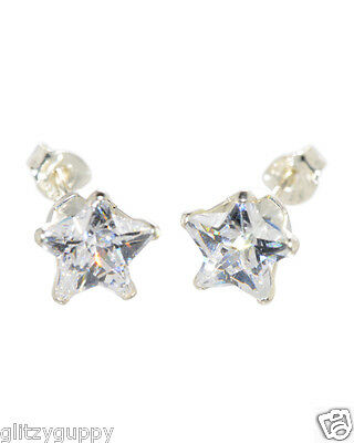 Sterling Silver Earrings Clear STAR CZ Studs AAA Grade Cubic Zirconia Prong Set