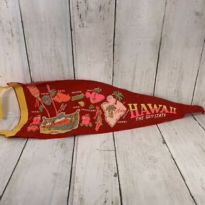 Vintage-Felt-Pennant-18-034-Hawaii-The-50th-State-Maui-Pear-Harbor-Oahu-Red-Banner
