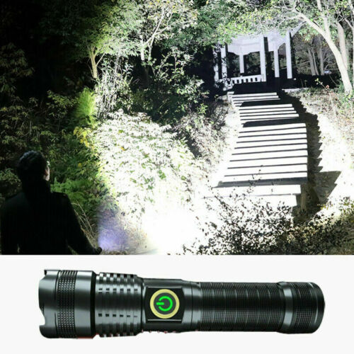 LED Flashlight Zoom Torch USB  Rechargeable 1000000 Lumens xhp70 Most Powerful