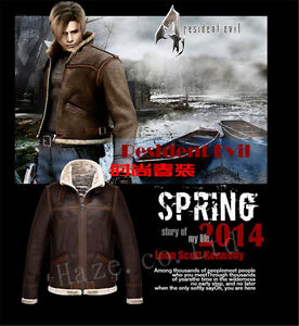 RE4-Resident-Evil-4-Leon-Kennedy-039-s-Zipper-Men-039-s-PU-Leather-Fur-Jacket-Warm-Coat
