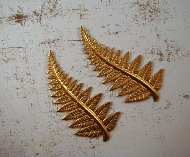 Large Raw Brass Fern Stampings (2) - RAT6730 Jewelry Finding