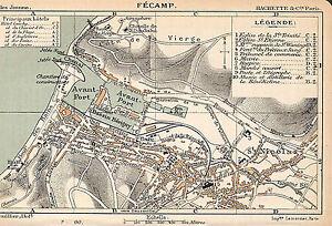 76 fecamp plan de la ville map illustration 1901 ebay. Black Bedroom Furniture Sets. Home Design Ideas