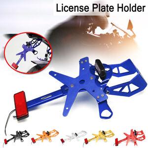 Universal-Motorcycle-License-Number-Plate-Frame-Holder-Bracket-LED-Tail-Light