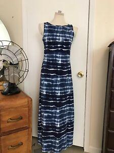 85fdc25e4e5 Jones New York Women's Sport Maxi Dress Swim Cover Up Blue Stripe ...