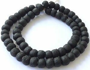 Ghana-African-Matched-Transparent-Matte-Black-Recycled-glass-trade-beads