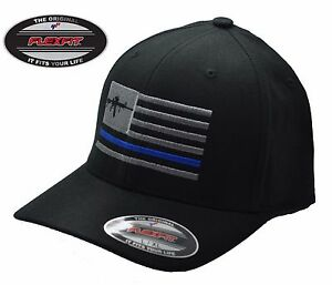 NEW American AR15 Thin Blue Line Flag FlexFit   5001 Black Hat ... cfd48ced542