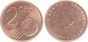 Niederlande-2-Cent-2001-Fehlpraegung-Schroetling-zu-leicht-ohne-Randrille