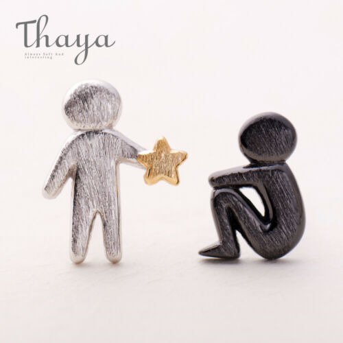 Thaya Picking Gold Stars for You Design Stud Earrings s925 Silver Asymmetry xb99