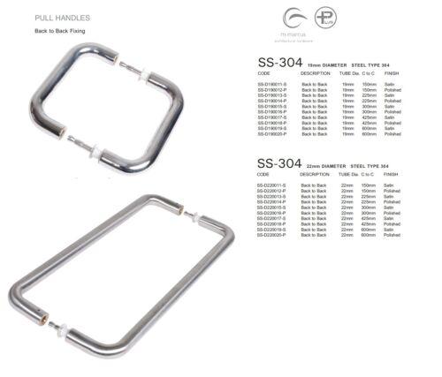 SS-D190011 STEEL TYPE 304 Door Pull Handle Back to Back Steel Line